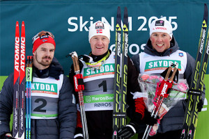 eierspallen i klassisk sprint under NM på Røros 2015. Fra venstre Sondre Turvoll Fossli (2. plass), Timo Bakken (1) og Emil Iversen (3). Foto: Geir Nilsen/Langrenn.com.